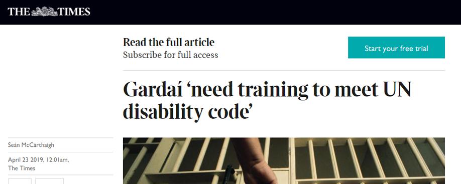 Gardaí 'need training to meet UN disability code'